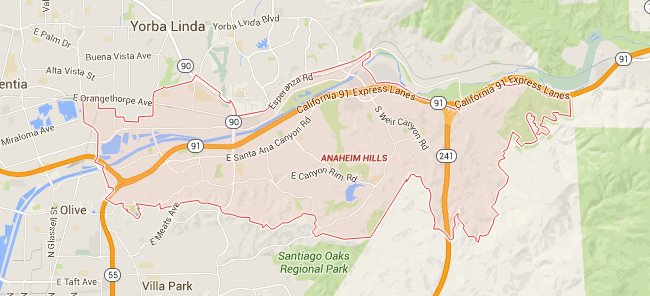 Map for Scott English Plumbing experts in Anaheim Hills