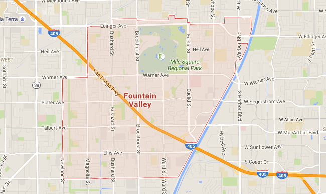 Map for Scott English Plumbing experts in Fountain Valley