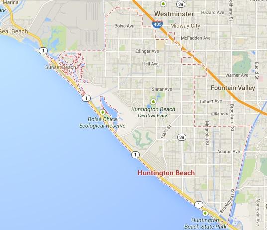 Map for Scott English Plumbing experts in Huntington Beach