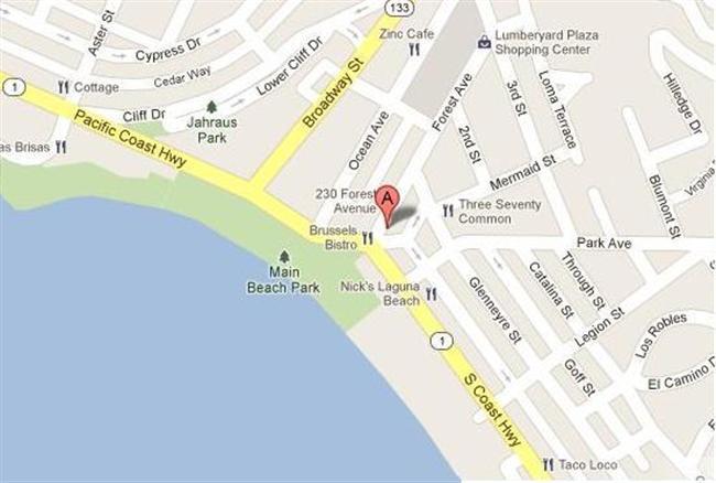 Map for Scott English Plumbing experts in Laguna Beach