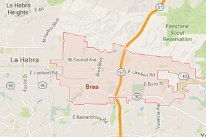 Brea geo-tagged map