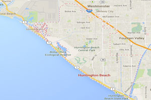 Huntington beach map geo-tagged image