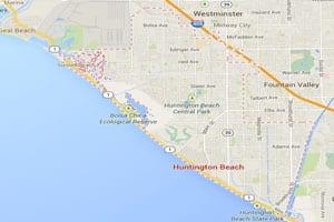 Huntington beach map geo-tagged image