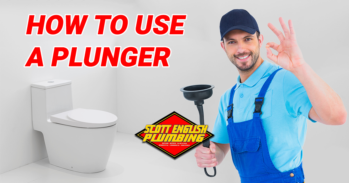 How to use a plunger properly featured image featuring toilet and plumber holding a plunger