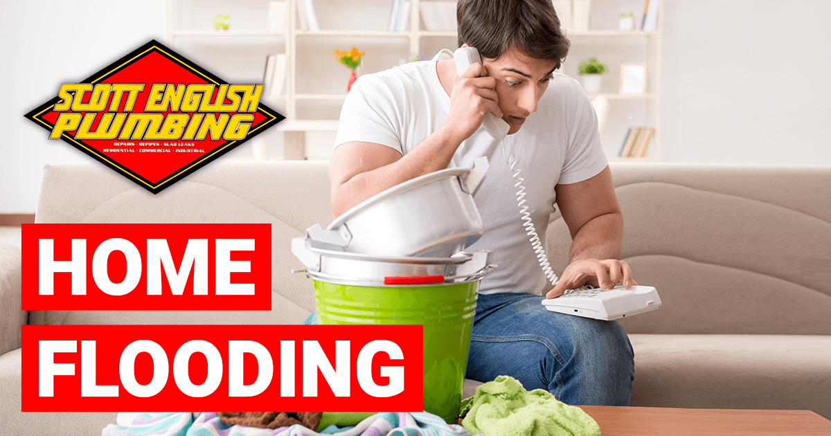 Home flooding banner image featuring stressed man calling a plumber because his home flooded