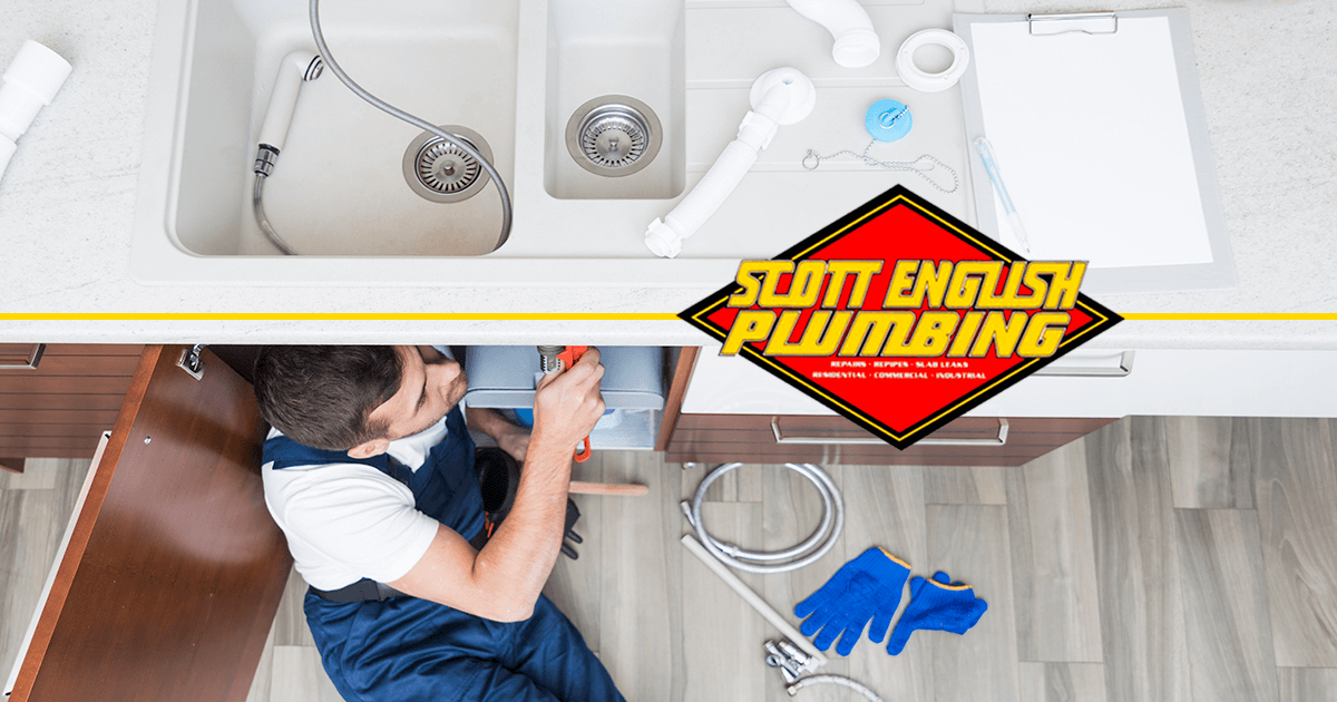 Plumbing maintenance checklist banner image featuring man inspecting plumbing issue