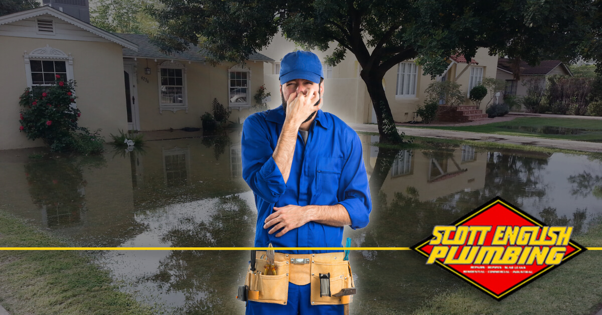 What to do when your house smells like sewage featured image featuring plumber holding nose