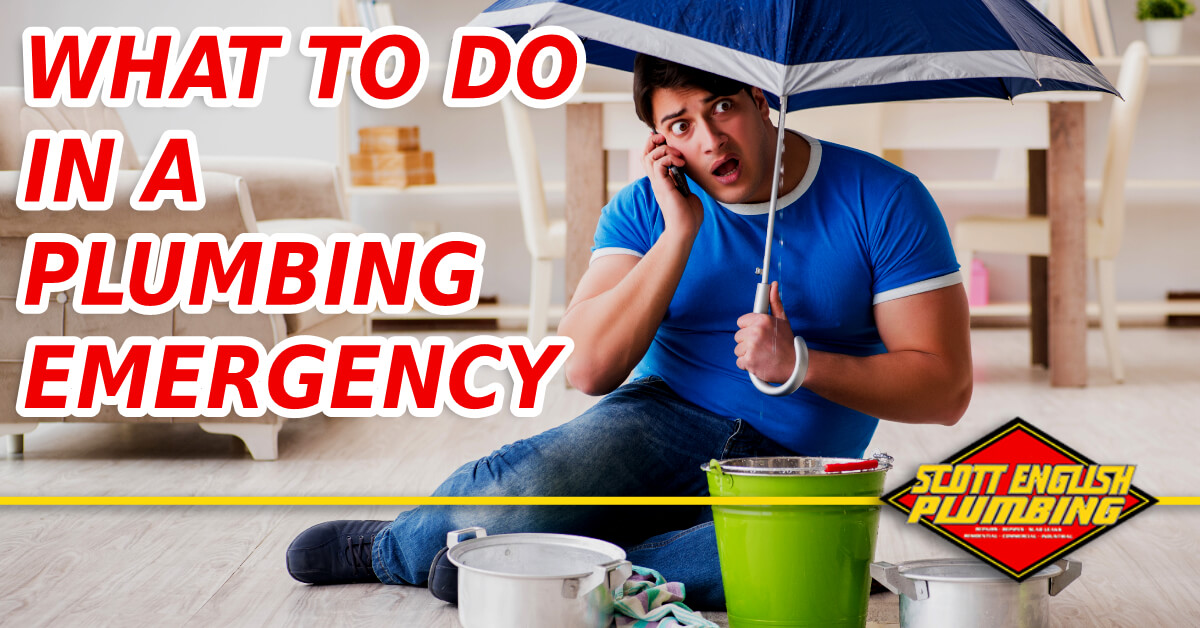 How to handle a plumbing emergency featured image featuring a man with an umbrella inside his house during a flooding emergency