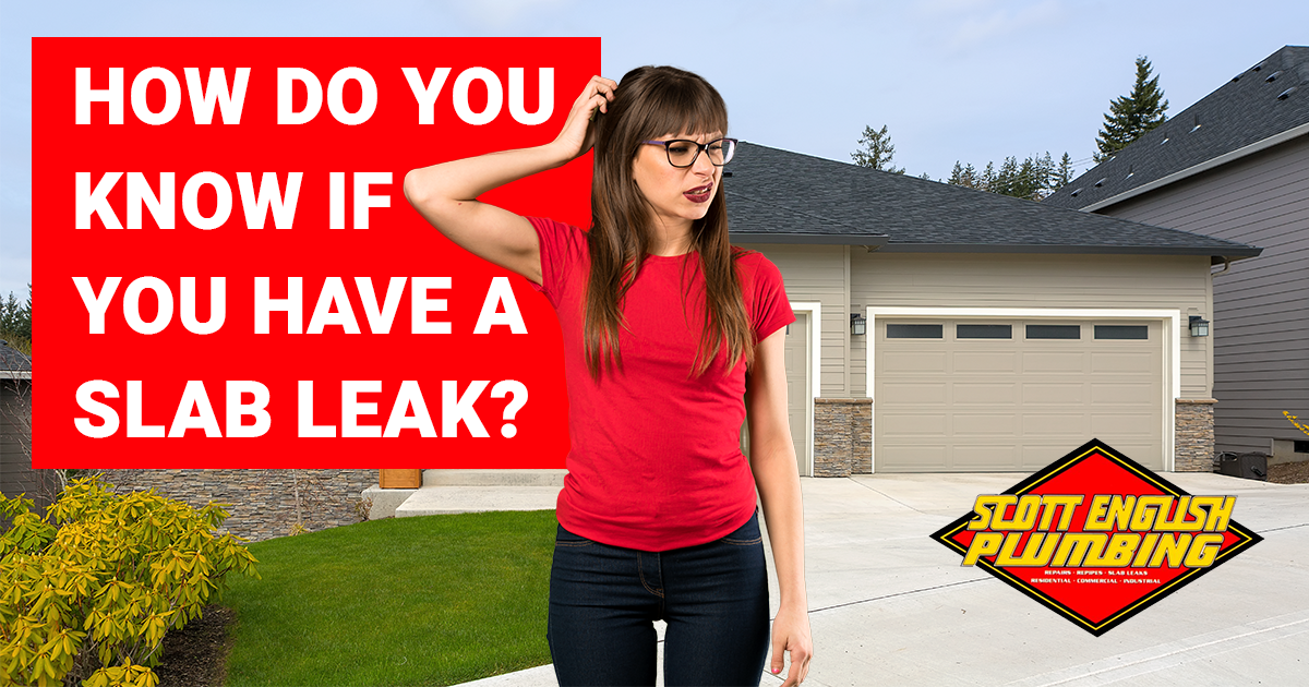 The many signs of a concrete slab leak featured image featuring a woman who doesn't know what to do because of a slab leak