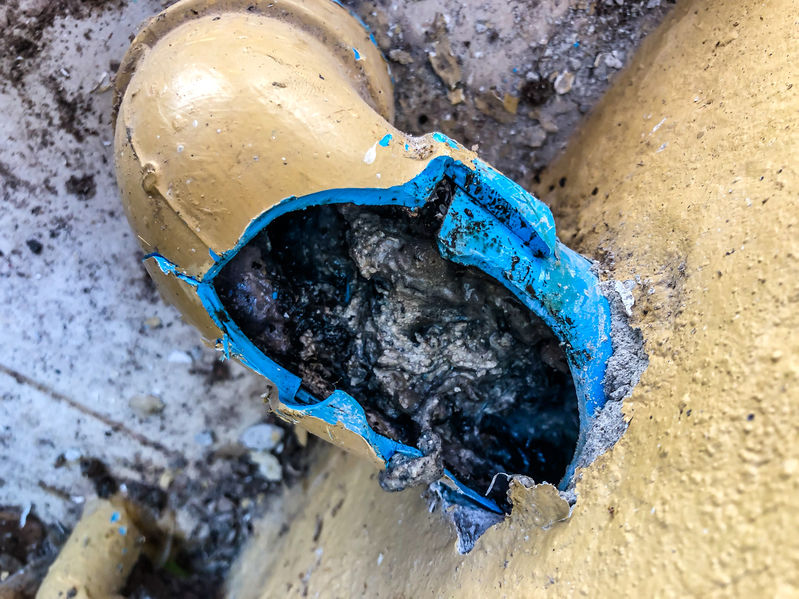 An image of a broken sewer pipe in San Clemente.